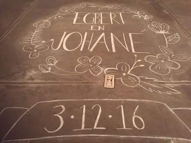 Egbert & Johané - Beautiful chalk vinyl done by Lientjie de Jager.