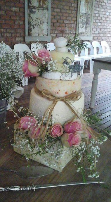 Cheese Wedding Cake - Different cheeses used as both the wedding cake and pre-snacks.